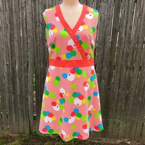 Vintage 1970s Dress Dots Abstract Stripes Small
